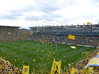 Villarreal CF - Last match of the 2012–13 season game against UD Almería. Finally, Villarreal won and promoted to La Liga.