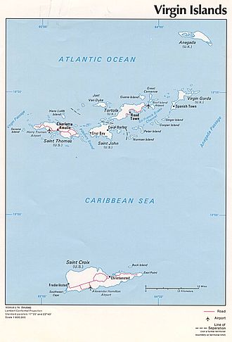 Virgin Islands - The locations of the US and UK Virgin Islands