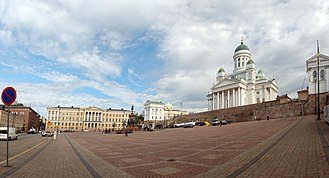 Helsinki Senate Square - The building on the left breaks an architecture style of the square