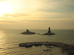 Vivekananda Rock Memorial and Thiruvalluvar Statue at sunrise, Kanyakumari