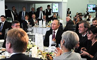 Michael Flynn - In December 2015, Flynn attended RT's 10th anniversary gala. Flynn is sitting next to Vladimir Putin during the dinner. Jill Stein (in the foreground) also attended the gala.
