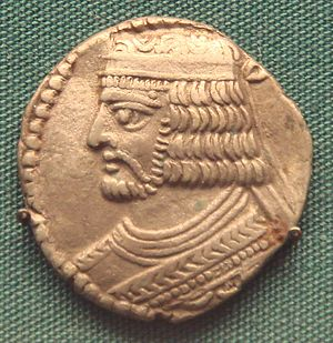 Roman–Parthian War of 58–63 - Gold coin of Vologases I, King of Parthia.