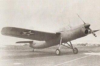 Vought XSO2U - The XSO2U-1 on wheeled landing gear