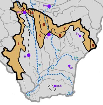 Eastern Slovak Hills - Image: Vychodoslovenska pahorkatina subdivisions