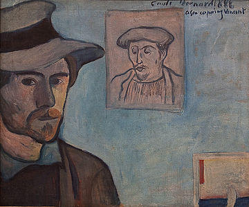 WLANL - MicheleLovesArt - Van Gogh Museum - Emile Bernard - Self-portrait with portrait of Gauguin, 1888 cropped.jpg