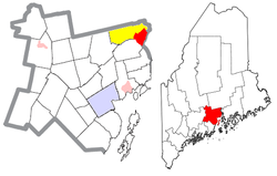 Location of Winterport (in red) in Waldo County and the state of Maine