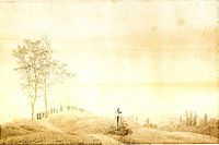 Caspar David Friedrich: Wallfahrt bei Sonnenuntergang, 1805 (Quelle: Wikimedia)