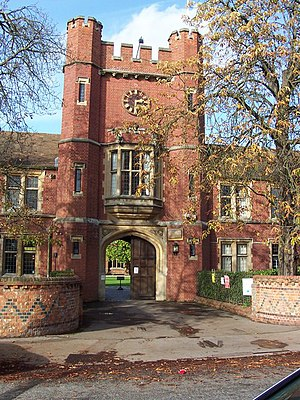 Wantage Hall - Clock tower with arched entrance