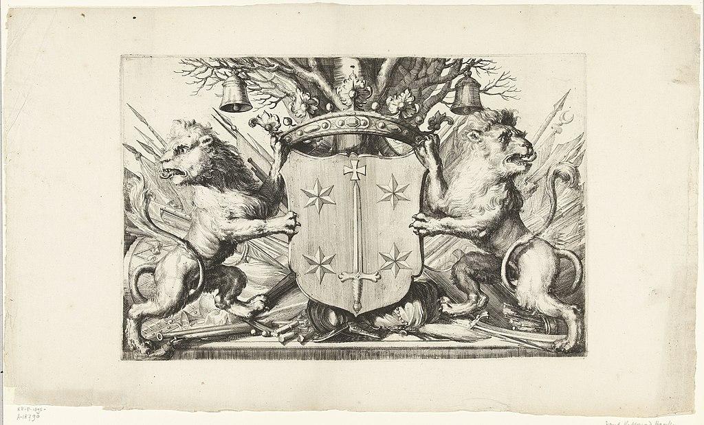 Wapen van Haarlem Plattegrond van Haarlem en gezichten op Haarlem (serietitel), RP-P-1895-A-18790