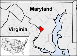 Location of Washington, D.C., in the United States and in relation to the states of Maryland and Virginia.