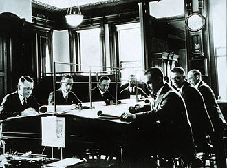 National Weather Service - Meteorologists preparing a forecast, early 20th century.