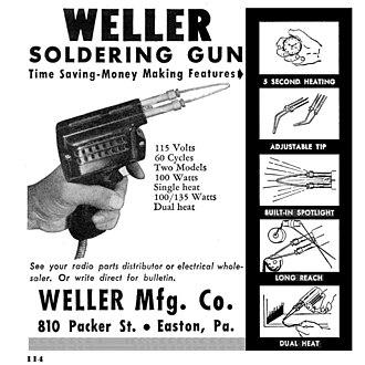 Soldering gun - A 1948 advertisement for a Weller soldering gun