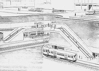 Chicago Central Area Transit Plan - Proposed (1958) Wells Street Subway at Congress Street