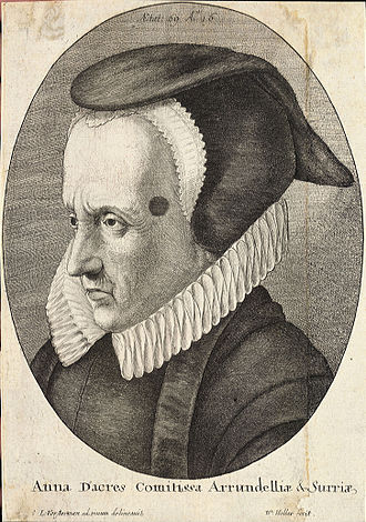 Anne Howard, Countess of Arundel - Engraving of Anne Howard (labeled Anna Dacres) by Wenceslas Hollar