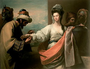 Eliezer - Isaac's servant tying the bracelet on Rebecca's arm by Benjamin West. The servant in question was possibly Eliezer of Damascus.