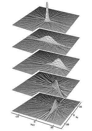 Squeezed coherent state - Wigner functions of the five states. The ripples are due to experimental inaccuracies.