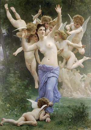 William-Adolphe Bouguereau (1825-1905) - The Invasion (Le Guêpier) (1892) Translated title: The Wasp's Nest. 1892 Oil on canvas 83 3/4 x 60 inches (213 x 152.5 cm) Private collection Signed and dated lower right