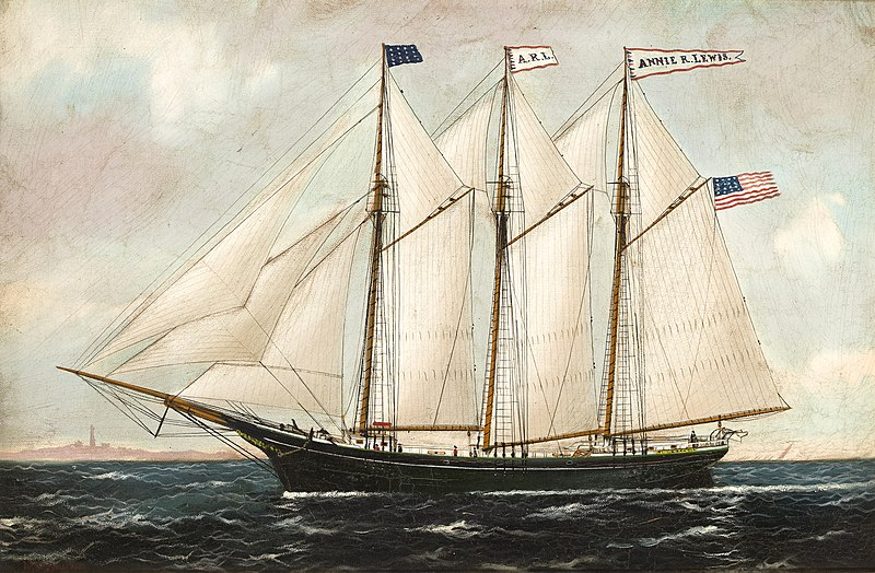 File:William P. Stubbs - The American three masted schooner Annie R. Lewis.jpg