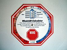 Calcolatore manuale dell'effetto windchill