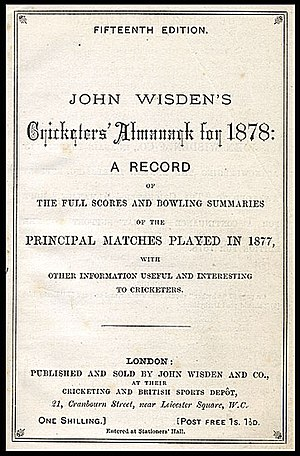 Wisden Cricketers' Almanack - Wisden 1878 edition