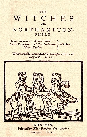 """Northamptonshire witch trials - The cover of the 1612 pamphlet """"The Witches of Northamptonshire"""" showing three witches riding on a sow"""