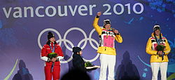 Women's Luge Medal ceremony at 2010 Olympic Winter Games.jpg