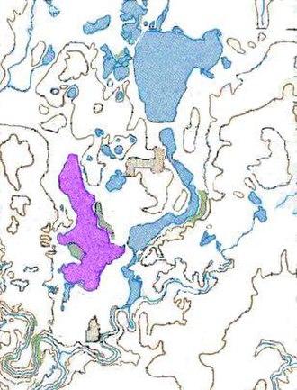 West Okoboji Lake - West Okoboji Lake (highlighted in purple), in the Iowa Great Lakes region.