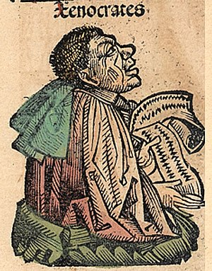 Xenocrates - Xenocrates, depicted as a medieval scholar in the Nuremberg Chronicle