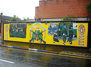 Young Citizen Volunteers (1972) - YCV mural off Belfast's Donegall Pass
