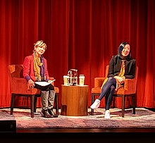 Young Jean Lee (right) interviewed at the San Francisco JCC by Crowded Fire Theater artistic director Mina Morita