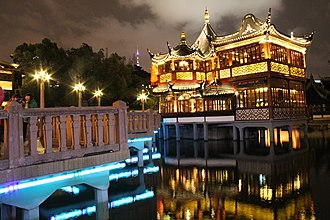 Teahouse - A teahouse at night in Yu Yuan Garden, Shanghai