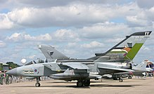 A No. 12 Squadron Panavia Tornado GR4 during 2005 with 90th anniversary markings.