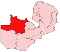 Map of Zambia showing the Northwestern Province