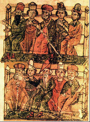 Stefan Lazarević - Miniature in the 16th century copy of the Mining Law of Stefan Lazarević made for Novo Brdo in 1412.