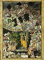 """Krishna Holds Up Mount Govardhan to Shelter the Villagers of Braj"", Folio from a Harivamsa (The Legend of Hari (Krishna)) MET is28.63.1.R.jpg"