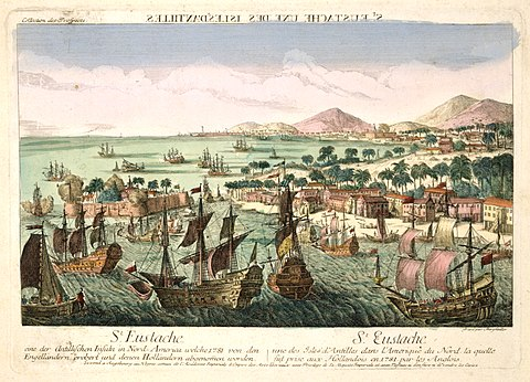 The capture of St Eustatius by the British fleet in February 1781. The island is sacked by the British. Ile de Saint Eustache en 1781 (haute resolution).jpg