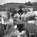 Železen nagrobni križ na pokopališču v Žužemberku. Ti križi po verjetnosti večidel izdelki železarske fabrike v Dvoru (vliti izdelki iz 19. stoletja) 1957 (2).jpg
