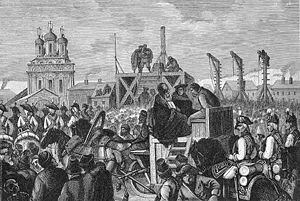 Pugachev's Rebellion - Pugachev's execution on Bolotnaya Square.