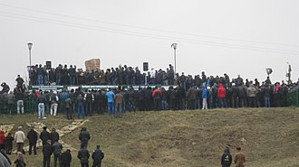 Deportation of the Chechens and Ingush - People gathering at a monument in Dagestan to commemorate the deportation of Chechens and Ingush in 2013
