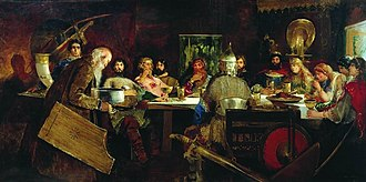 Gusli - Painting of a feast with Vladimir the Great and bogatyrs while gusli is playing