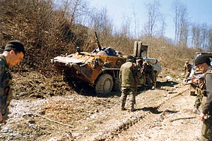 2000 Zhani-Vedeno ambush - Disabled BTR-80 armored personnel carrier