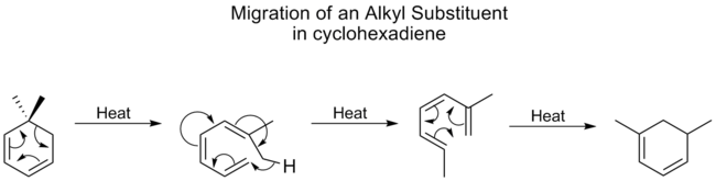 alkyl shift on cyclohexadiene