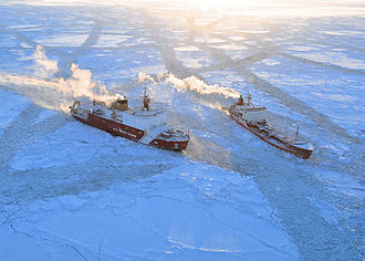 USCGC Healy (WAGB-20) - Healy escorts Renda through ice in the Bering Sea in January 2012.