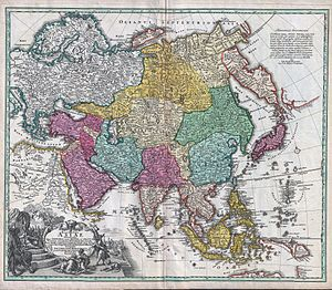 Geography of Asia - Recentissima Asiae Delineatio, the 1730 geographical map of Johan Christoph Homann. Asia is shown in color. The names are in Latin.