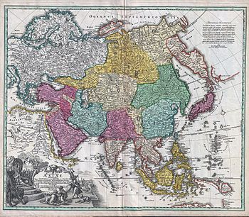 recentissima asiae delineatio the 1730 geographical map of johan christoph homann asia is shown in color the names are in latin