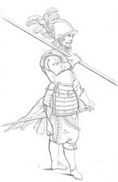 Line drawing of a Renaissance infantryman facing to the right, gripping a pike raised in his right hand, resting on his right shoulder. His left hand rests on the pommel of a sword attached to his mid-region. He wears a metal breast-plate and helmet decorated with a feathered plume. The soldier has a moustache and beard, and puffed out trousers. The legs are drawn slightly short.