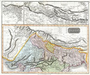 Madhesh - 1814 map by John Thomson depicting northern India and Nepal.