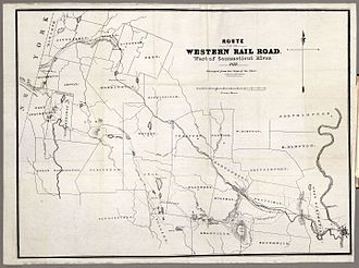 George Washington Whistler - 1837 Western Railroad map, Springfield to State Line