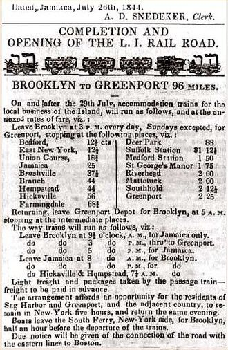 History of the Long Island Rail Road - Schedule for the first day of revenue operation to Greenport, July 29, 1844