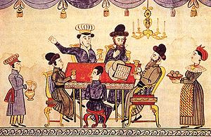 Passover Seder - A Ukrainian 19th-century lubok representing the Seder table.